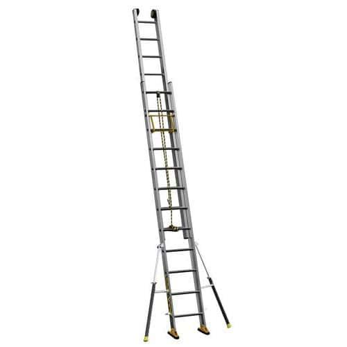 Escada extensível de 2 secções com estabilizadores