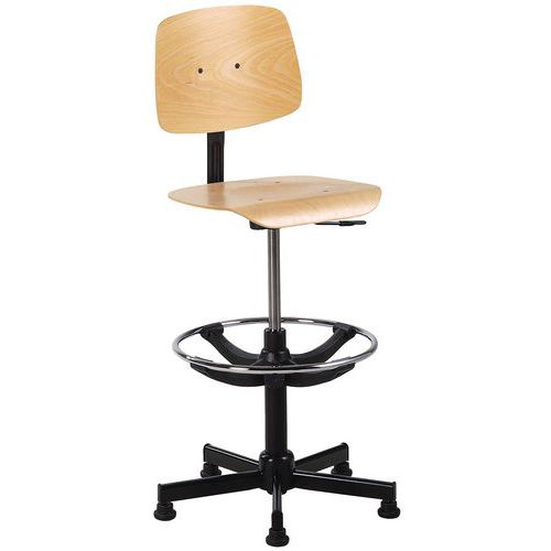 Cadeira de oficina alta - Base com patins - Com apoio para os pés