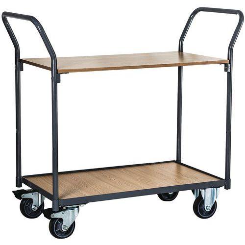Carro com 2 plataformas em madeira - Capacidade de 250kg - Manutan