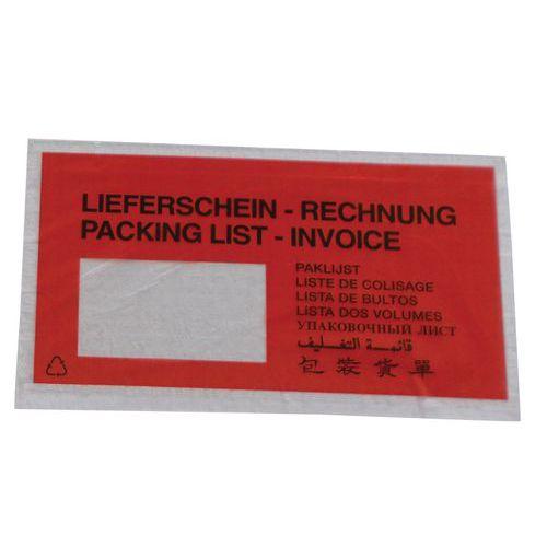 Envelope porta-documentos Pac-List – Lieferschein rechnung – 9 idiomas