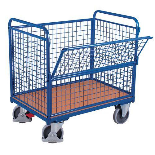 Carro ergonómico com paredes gradeadas e painel semirrebatível – Capacidade de carga de 500kg