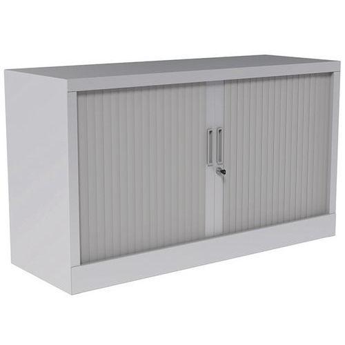Armário com portas de persiana - Com plataforma superior - Cinzento claro