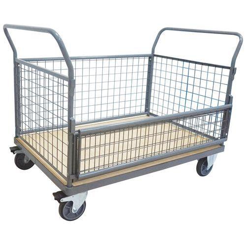 Carro semirrebatível com paredes gradeadas – 500kg – Manutan