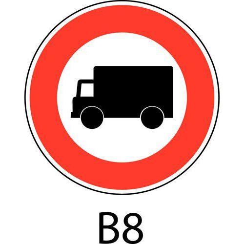 Painel de sinalização - B8 - Acesso proibido a veículos usados para o transporte de mercadorias