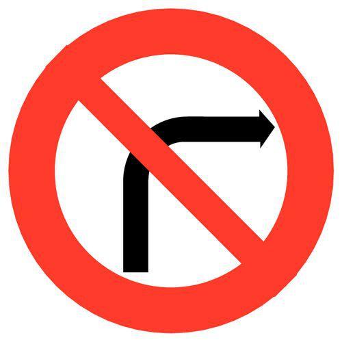 Painel de sinalização - B2b - Proibição de virar à direita