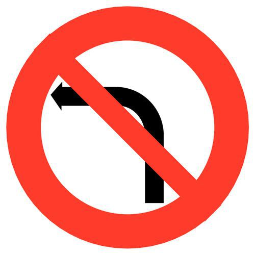 Painel de sinalização - B2a - Proibição de virar à esquerda