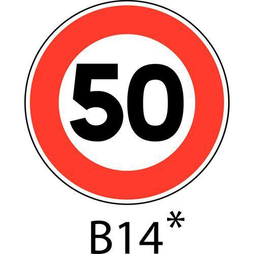 Painel de sinalização - B14 - Velocidade limitada a indicar