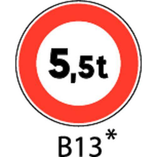 Painel de sinalização - B13 - Peso máximo a indicar