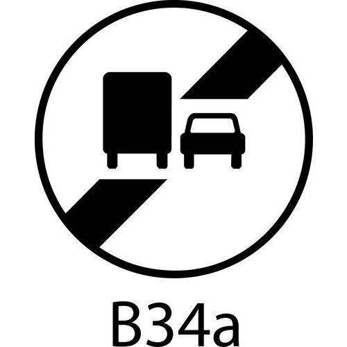Painel de sinalização - B34a - Final da proibição de ultrapassagem para veículos pesados