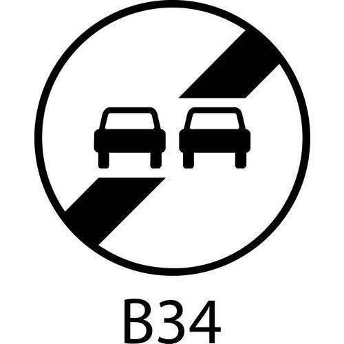 Painel de sinalização - B34a - Final da proibição de ultrapassagem