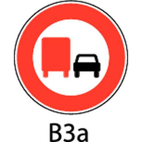 Painel de sinalização - B3a - Proibição de ultrapassar qualquer veículo a motor