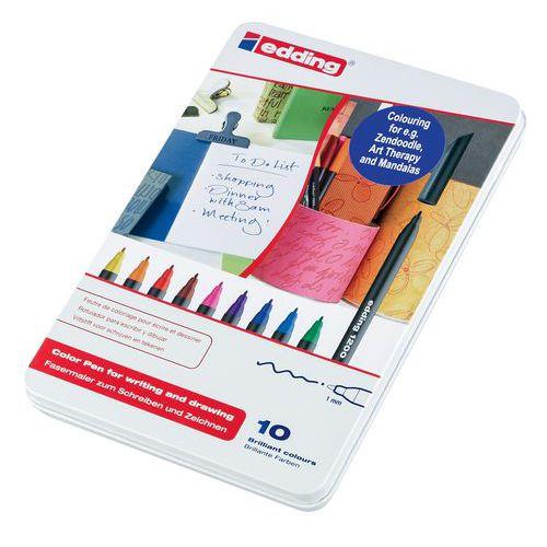 Canetas de feltro de colorir Edding 1200 - Bolsa de 10 cores sortidas