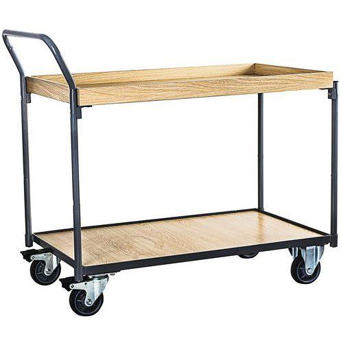 Carro de plataformas em madeira com rebordo – 250kg – Barra vertical – Manutan