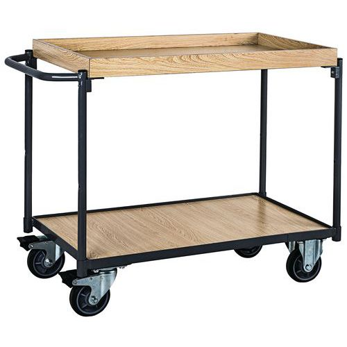 Carro de plataformas em madeira com rebordo – 250kg – Barra horizontal – Manutan