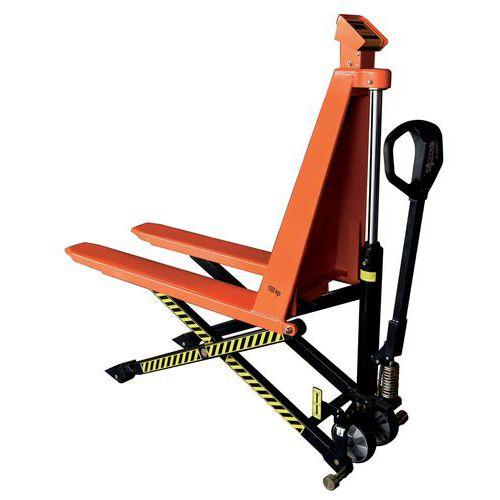 Porta-paletes manual de grande elevação com indicador de peso – capacidade de 1000kg