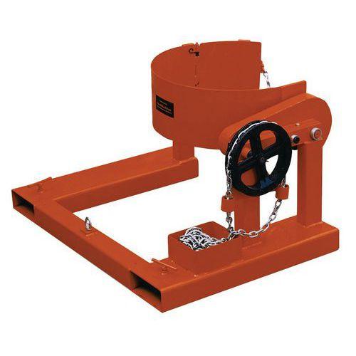 Basculador de bidões comandado por corrente - Para empilhador