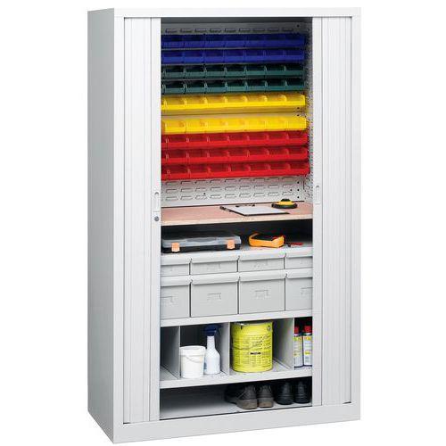 Armário com portas de persiana universal - Com gavetas - Com caixas