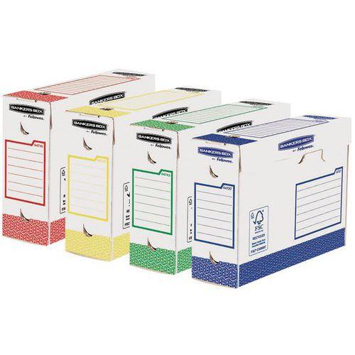 Caixa de arquivo Bankers Box Heavy Duty, lombada de 10cm – Sortidas – Lote de 8