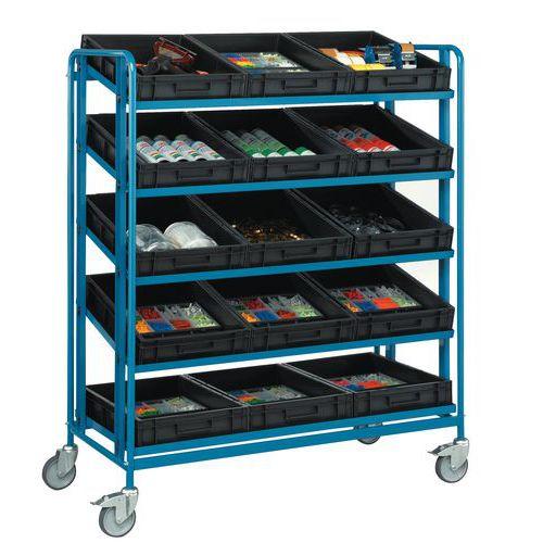 Carro inclinável em aço, para caixas - 3 a 5 plataformas - com caixas