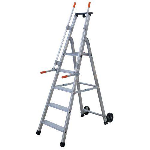 Escadote com rampa de segurança e rodas – 5 a 9 degraus