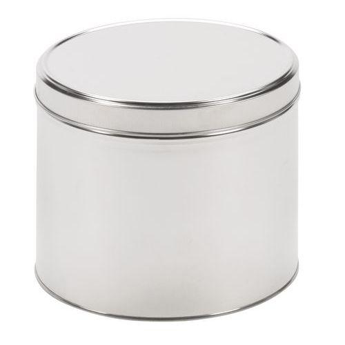 Caixa metálica redonda com tampa que assenta por fora
