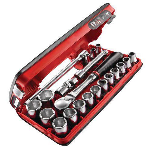 Caixa com chave de roquete estanque SL161 de 1/2 sextavada – 21 peças