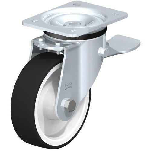 Rodízio giratório com placa e travão - Capacidade de 200 a 600 kg