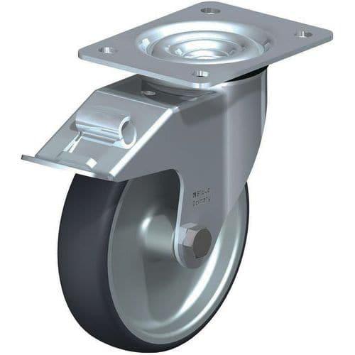 Rodízio giratório com placa e travão – Capacidade: 200kg
