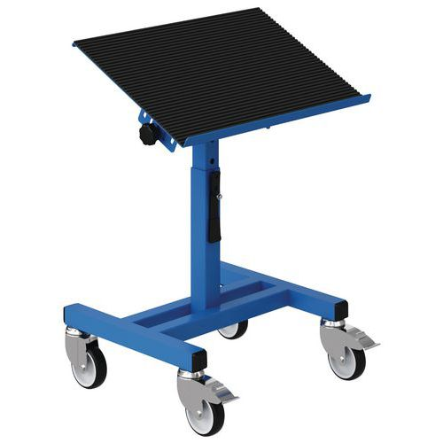 Móvel de apoio regulável com tampo inclinável e rodas