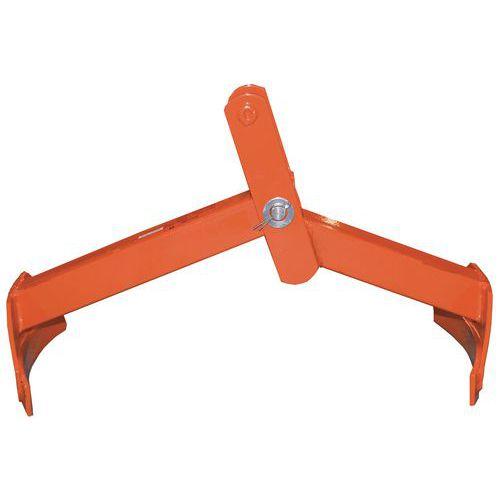 Pinça vertical e horizontal com 2 braços para bidões – capacidade de carga de 350kg