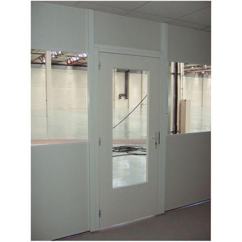 Porta rebatível para divisórias de oficina em melamina - Painel semividrado - Altura 2,53 m