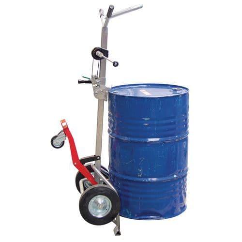 Transportador em aço para bidões – 350kg – Roda em borracha