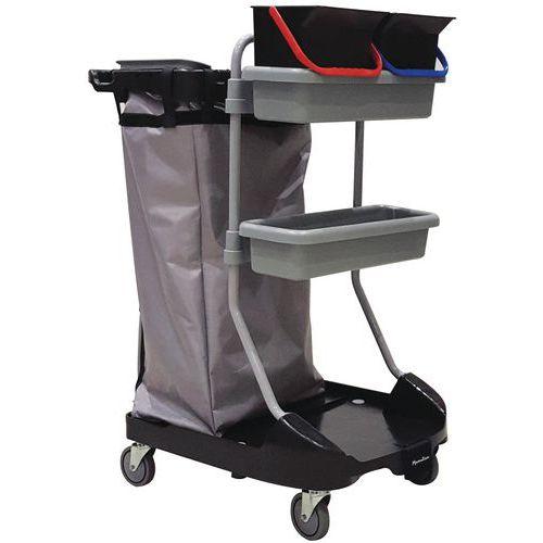 Carro de limpeza com suporte para sacos – 2 prateleiras e 2 baldes – Manutan
