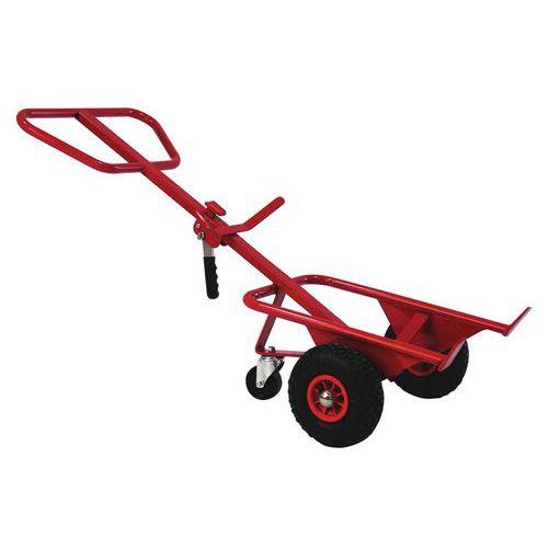 Transportador ergonómico em aço para bidões – 350kg – Roda pneumática