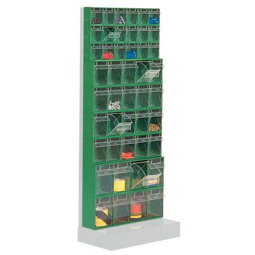 Estante com caixas inclináveis Madia - Altura 150 cm - 9 filas