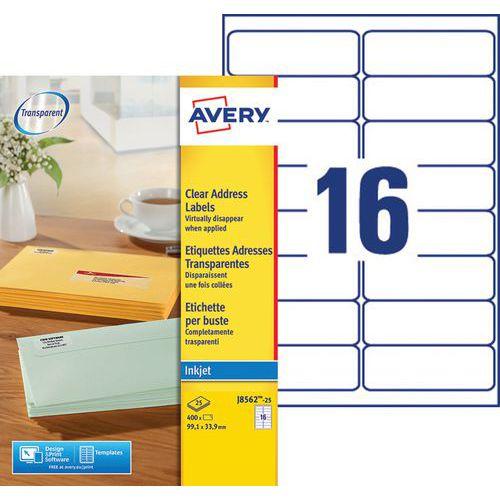 Etiqueta de endereço transparente Avery – impressão a jato de tinta