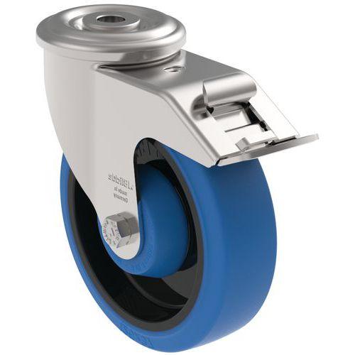 Rodízio giratório de olhal com travão - Capacidade de 150 kg
