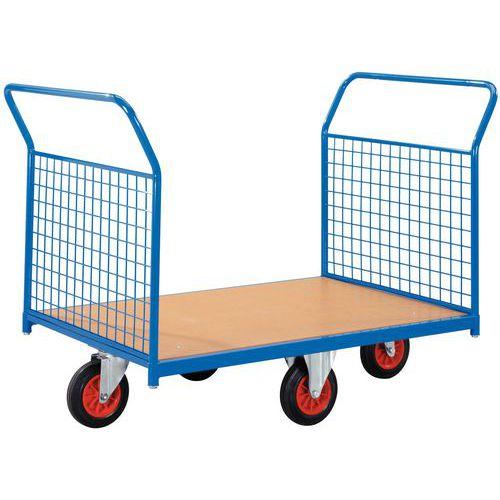 Carro com revestimento gradeado e rodas em losango - Capacidade 500 kg - 2 espaldares