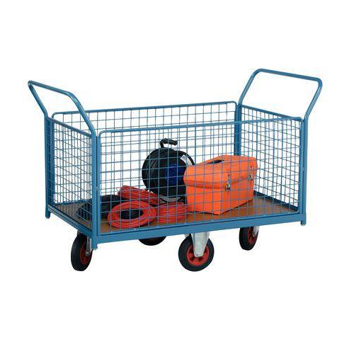 Carro com revestimento gradeado e rodas em losango - Capacidade 500 kg - 2 espaldares + 2 grelhas