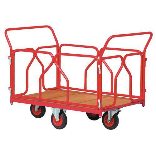 Carro com revestimento tubular e rodas em losango - Capacidade 500 kg - 2 espaldares + 2 grelhas