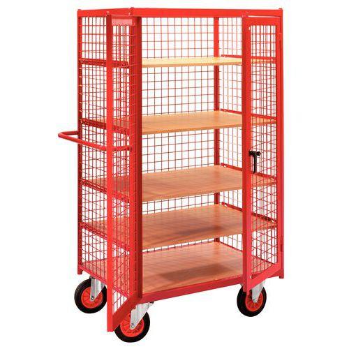 Móvel de apoio madeira - 3 painéis e cobertura gradeadas + porta - Capacidade 500 kg