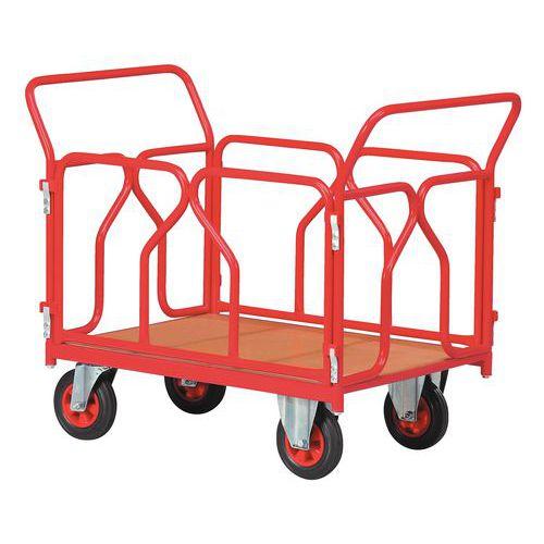 Carro com revestimento tubular - Capacidade 500 kg - 2 espaldares + 2 grelhas