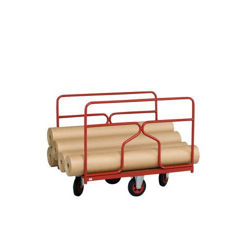 Carro com revestimento tubular e rodas em losango - Capacidade 500 kg - 2 grelhas