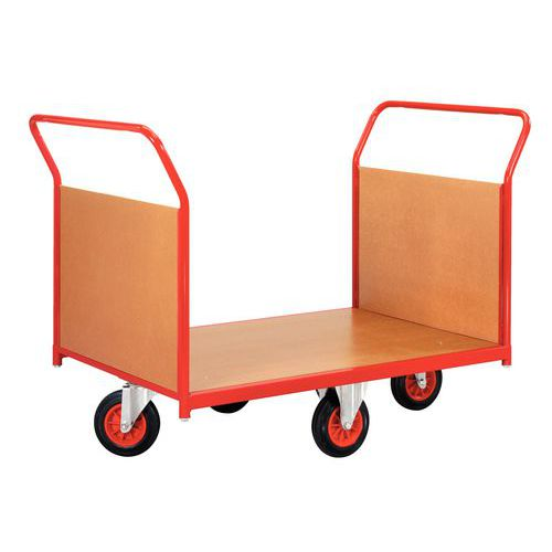 Carro com revestimento em painéis de madeira e rodas em losango - Capacidade 500 kg - 2 espaldares
