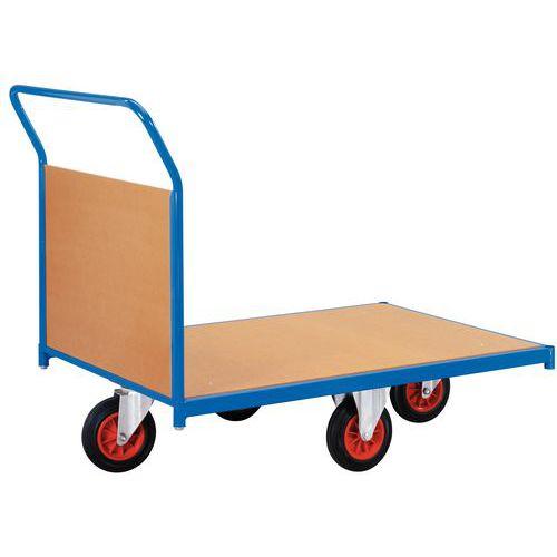 Carro com revestimento em painéis de madeira e rodas em losango - Capacidade 500 kg - 1 espaldar