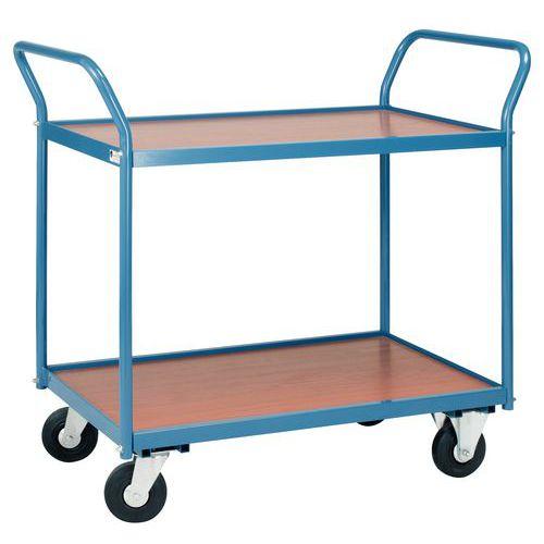 Carro de plataformas em madeira de 150kg – 2 plataformas – Rodas em borracha