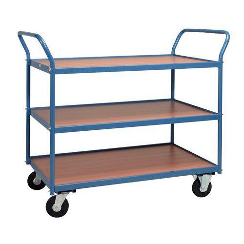 Carro de plataformas em madeira de 250kg – 3 plataformas – Rodas em borracha