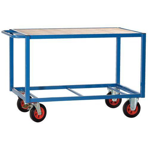 Carro de plataformas em madeira de 500kg – 1 plataforma – Rodas em borracha