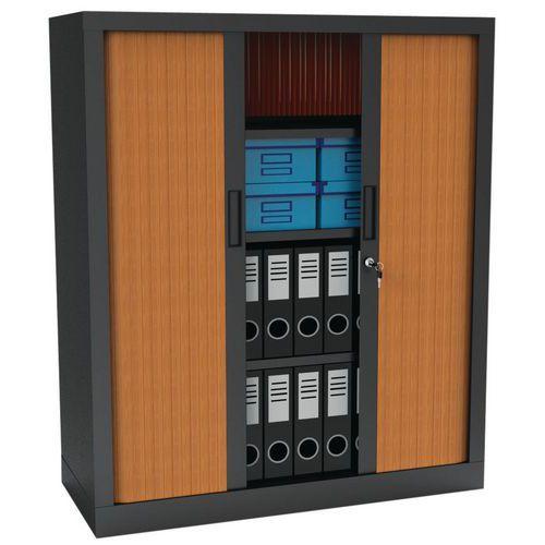 Armário com portas de persiana Premium bicolor - Altura 136 cm