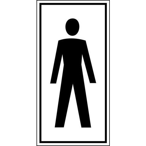 Pictograma de sinalização preto e branco – autocolante – homens
